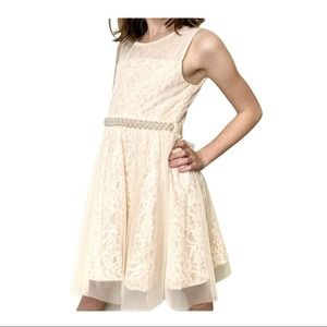 RARE EDITIONS Peach & Pearls Lace Dress 8